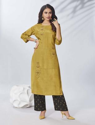 Mustard Embroidered Viscose Ethnic Kurtis
