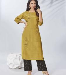 Mustard embroidered viscose ethnic-kurtis