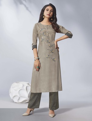 Grey embroidered viscose ethnic-kurtis