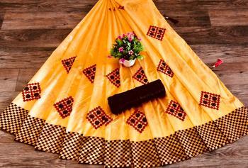 women orange embroidered silk blend saree with blouse