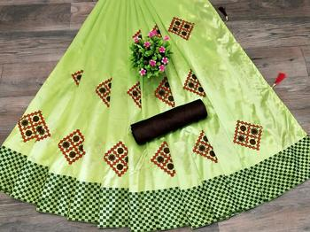 women green embroidered silk blend saree with blouse
