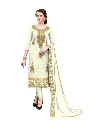 Cream embroidered cotton salwar