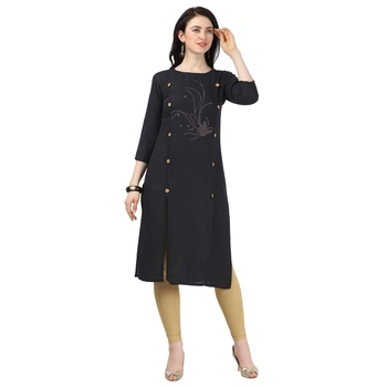 Black plain rayon party-wear-kurtis