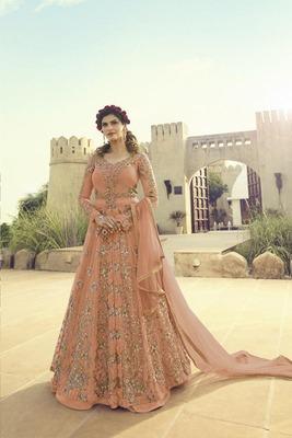 Light-orange embroidered net salwar