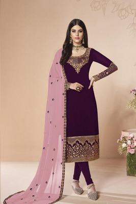 Dark Purple Embroidered Faux Georgette Salwar