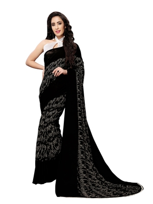 Black printed georgette saree with blouse