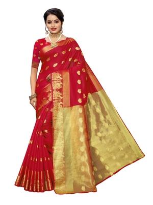 Red woven cotton poly saree with blouse