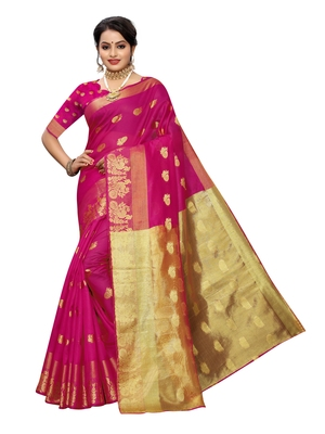 Pink woven cotton poly saree with blouse