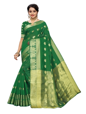 Green woven cotton poly saree with blouse