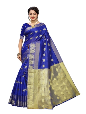 Royal blue woven cotton poly saree with blouse