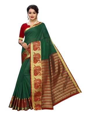 Dark green woven cotton poly saree with blouse