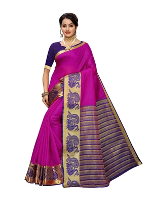 Rani pink woven cotton poly saree with blouse