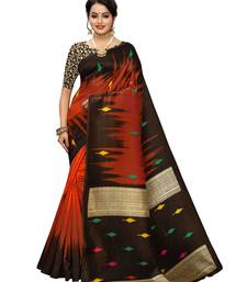 Rust Printed Poly Silk Saree With Blouse