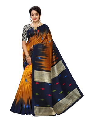 Mustard printed poly silk saree with blouse