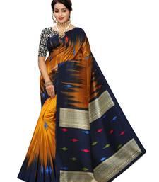 Mustard printed poly silk saree with blouse