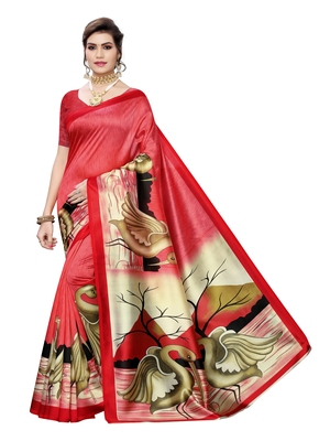 Red printed poly silk saree with blouse