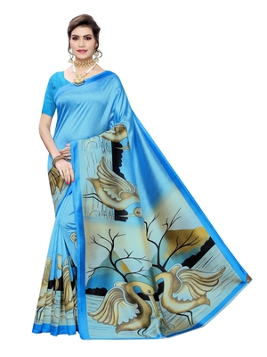 Sky blue printed poly silk saree with blouse