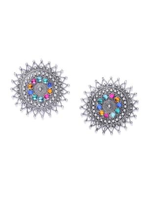 Infuzze Oxidised Silver-Toned & Blue Stone-Studded Circular Oversized Studs