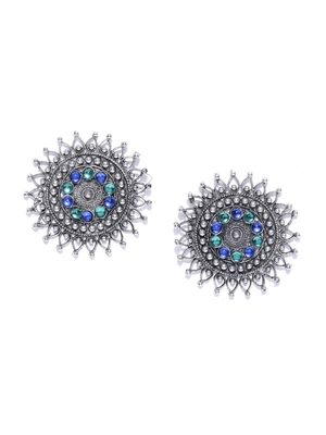 Infuzze Oxidised Silver-Toned & Blue Beaded Circular Drop Earrings