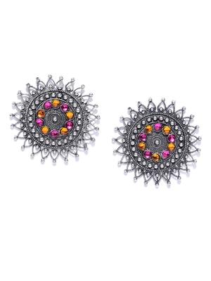 Infuzze Oxidised Silver-Toned & Pink Beaded Circular Drop Earrings