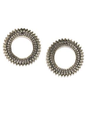 Infuzze Antique Gold-Toned Circular Drop Earrings