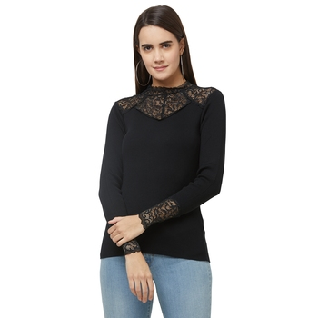 Black printed viscose tops