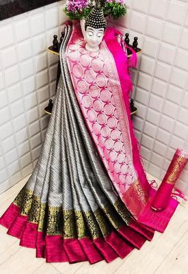Womens  Designer  Silk  Saree With Designer  Blouse