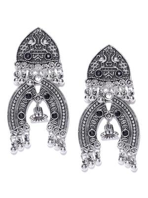 Infuzze Oxidised Silver-Toned & Black Textured Classic Drop Earrings