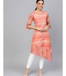 Peach Self A-Line Chanderi Kurta