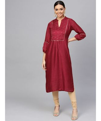 Maroon embroidered Straight Satin Silk Kurta
