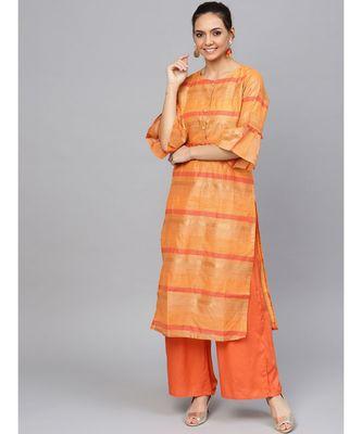 Orange Geometric Straight Jacquard Chanderi Kurta