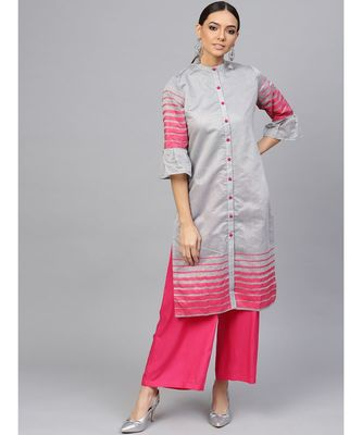 Grey Geometric Straight Chanderi Kurta