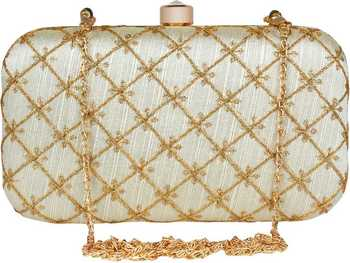 PARTY CLUTCH BAG WHITE & GOLD