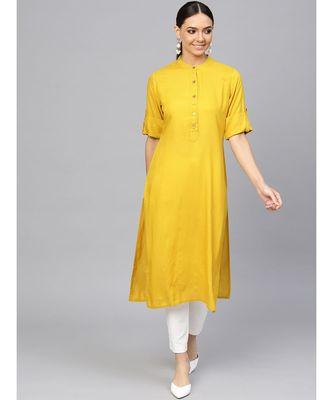 Ochre Yellow Solid Straight Rayon Kurta