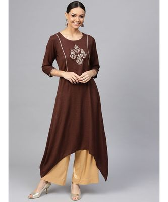 Brown embroidered A-Line Rayon Slub Kurta