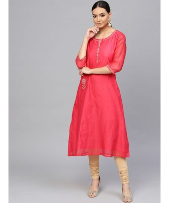 Pink embroidered A-Line Chanderi Kurta