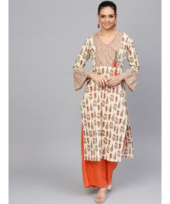 Off White embroidered Straight Cotton Kurta