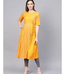 Sequins And Kantha Work Foil Printed Flared Kurta