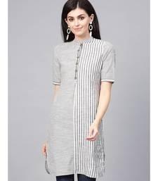 Grey Handloom Straight Short Kurti