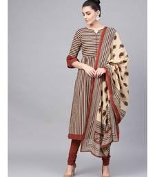 Striped Flared Kurta With Solid Churidar And Printed Dupatta