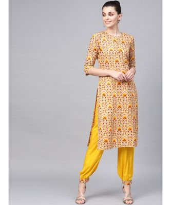 Printed Straight Kurta With Solid Front Pleated Salwar