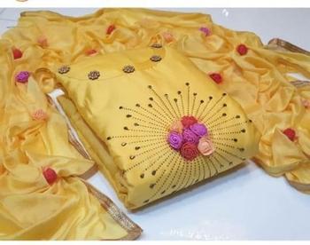 Yellow beads cotton salwar