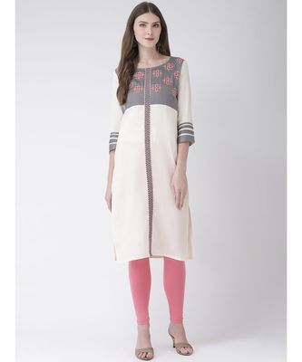 Grey printed Rayon kurtas-and-kurtis