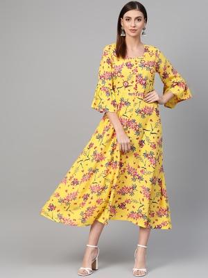 Yellow woven viscose rayon maxi-dresses