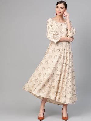 Off white woven viscose rayon maxi-dresses