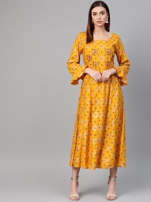 Mustard woven viscose rayon maxi-dresses