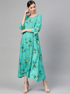 Turquoise woven viscose rayon maxi-dresses