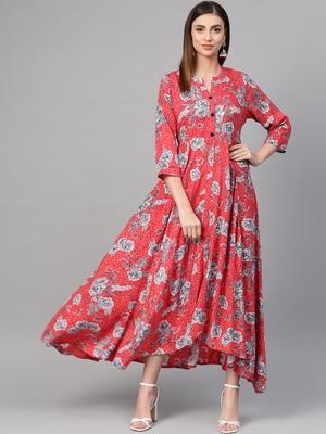 Red woven viscose rayon maxi-dresses