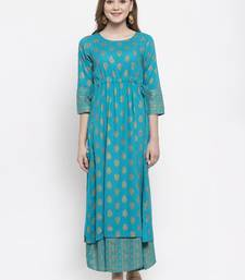 Turquoise woven viscose rayon maxi-dresses