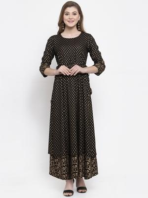 Black woven viscose rayon maxi-dresses